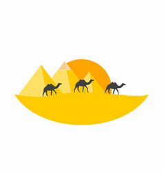 Caravan camels against over pyramids egyptian vector