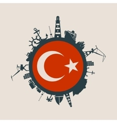 Cargo port relative silhouettes Turkey flag vector image