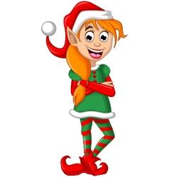 Christmas elf posing vector image