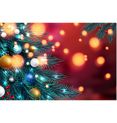 christmas tree branches on a dark night bokeh vector image