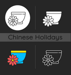 Chrysanthemum tea dark theme icon vector