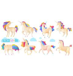 collection magic unicorns vector image