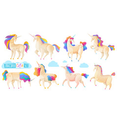 collection of magic unicorns vector image