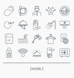 collection of outline hotel icons vector image