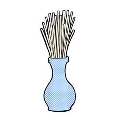 Comic cartoon reeds in vase vector