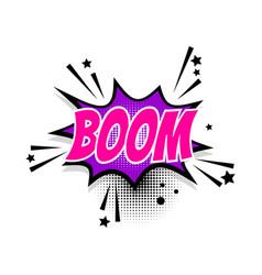 Comic text boom speech bubble pop art vector