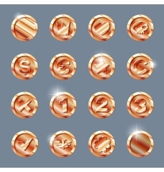Copper coins set vector
