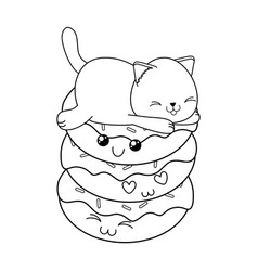 Cute little cat with donuts kawaii character vector