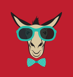 Donkey wearing blue glasses vector