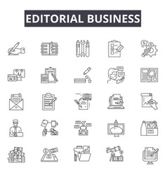 Editorial business line icons signs set vector