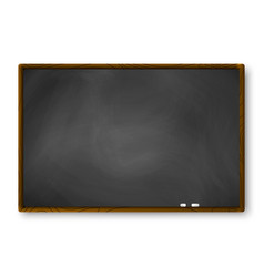 Empty blackboard with wooden frame and piece of vector