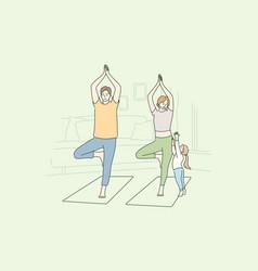 family yoga sport recreation motherhood vector image
