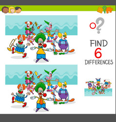 Find differences with funny clown characters vector