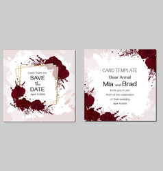 floral template for wedding invitations burgundy vector image