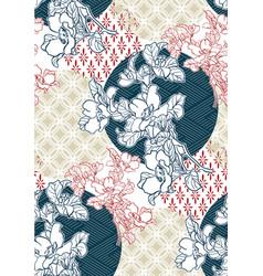 flower pattern geometric sketch line art japanese vector image