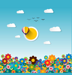 flowers on field flat design vector image