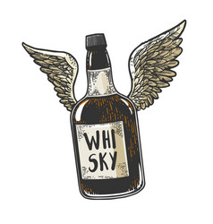 Flying whiskey bottle with wings sketch vector