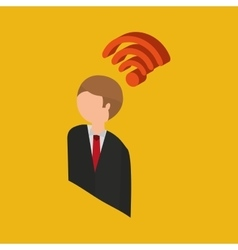 Global connection wifi digital businessman vector