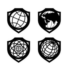 Globe security set vector image