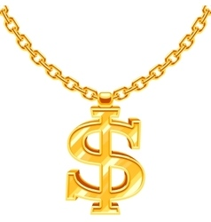 Gold dollar symbol on golden chain hip hop vector image