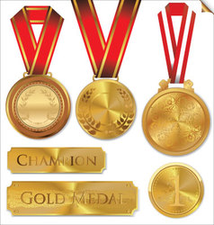 Gold medal set vector
