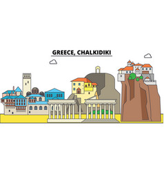 greece chalkidiki city skyline architecture vector image