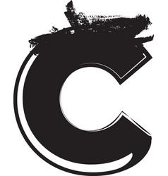 grunge font letter c vector image