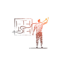 Hand drawn business concept sketch vector