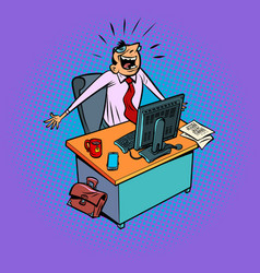 Happy male businessman works at an office vector