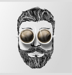 head a man with a mustache beard and coffee vector image