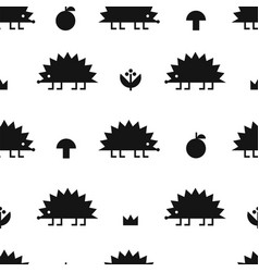 hedgehog black pattern vector image