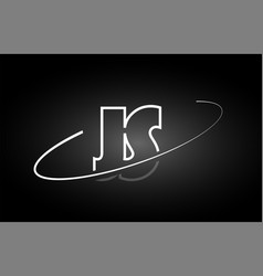 Js j s letter alphabet logo black white icon vector