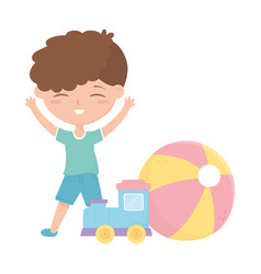 Kids zone cute little boy train ball cartoon toys vector