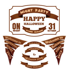 labels and ribbons for halloween icons vector image