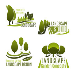 Landscaping company and gardening service icon vector