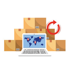 Laptop with boxes vector