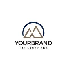 letter m mountain minimalist logo design concept vector image