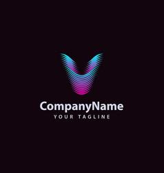 Letter v modern wave line logo design template vector