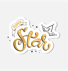 lettering of super star text vector image