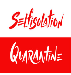 Lettering with pandemic words like selfisolation vector