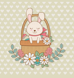 little rabbit with basket easter character vector image