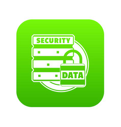 lock data security icon green vector image