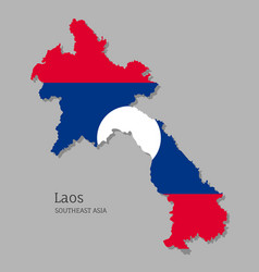 Map laos with national flag vector