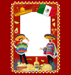 mexican holiday frame with mariachi musicians vector image
