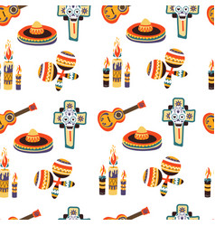 Mexico seamless pattern with candles sombrero and vector