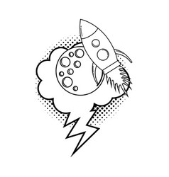 moon with speech bubble and rocket pop art vector image