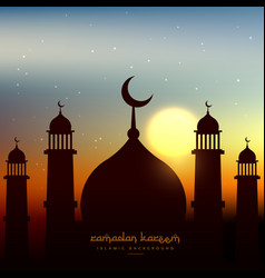 Mosque shape in evening sky with sun vector
