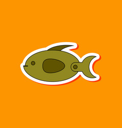 paper sticker on stylish background kids toy fish vector image