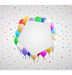 Pentagon badge and color balloons vector
