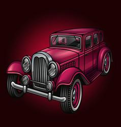 Pink retro car isolated on dark vector